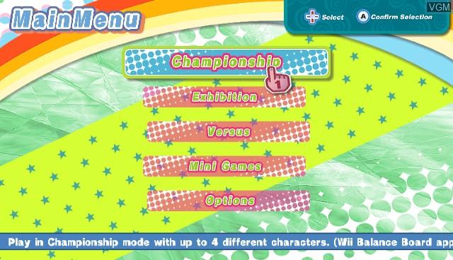 Menu screen of the game Diva Girls - Princess on Ice on Nintendo Wii