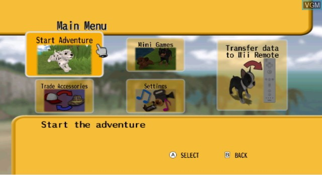 Menu screen of the game Dogz on Nintendo Wii