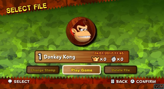 Menu screen of the game Donkey Kong Jungle Beat on Nintendo Wii