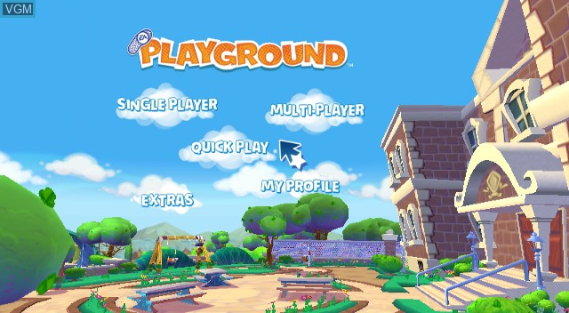 Menu screen of the game EA Playground on Nintendo Wii