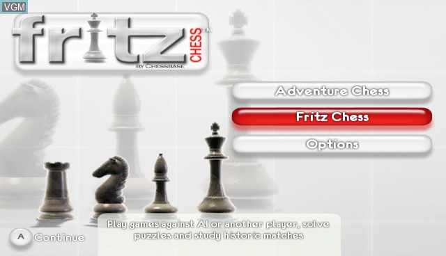Menu screen of the game Fritz Chess on Nintendo Wii
