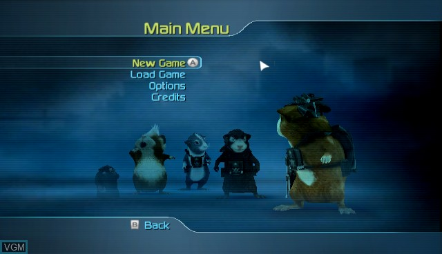 Menu screen of the game G-Force on Nintendo Wii