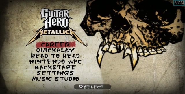 Menu screen of the game Guitar Hero - Metallica on Nintendo Wii