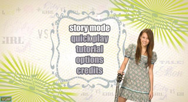 Menu screen of the game Hannah Montana - The Movie on Nintendo Wii