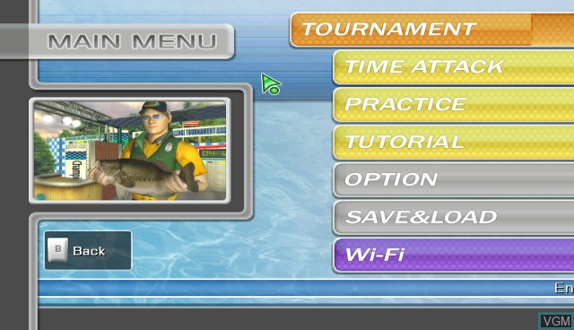 Menu screen of the game Hooked! Real Motion Fishing on Nintendo Wii