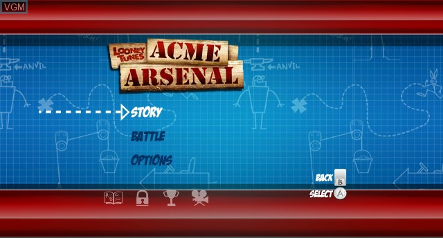 Menu screen of the game Looney Tunes - Acme Arsenal on Nintendo Wii