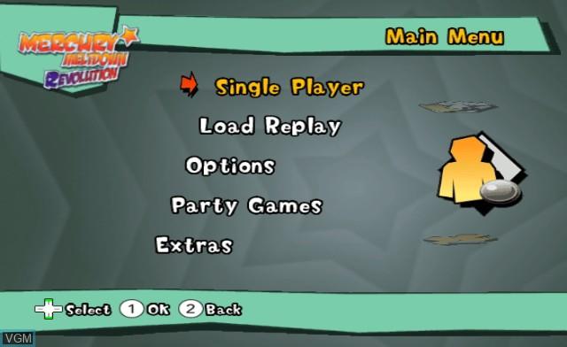 Menu screen of the game Mercury Meltdown Revolution on Nintendo Wii