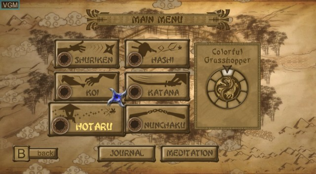 Menu screen of the game Ninja Reflex on Nintendo Wii