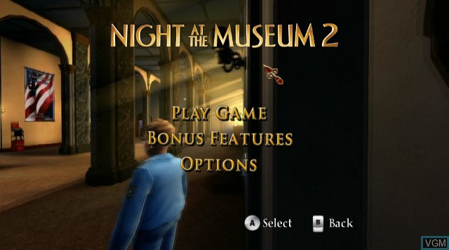 Menu screen of the game Night at the Museum - Battle of the Smithsonian on Nintendo Wii
