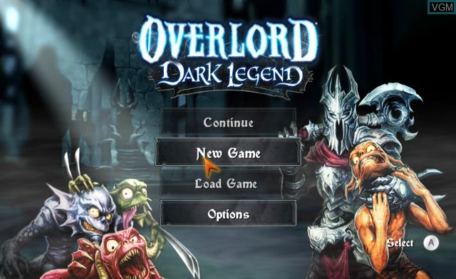 Menu screen of the game Overlord - Dark Legend on Nintendo Wii