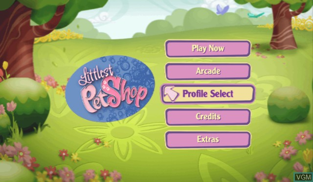 Menu screen of the game Littlest Pet Shop on Nintendo Wii