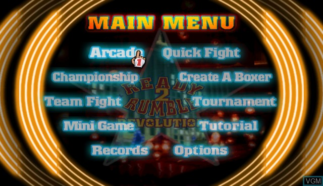 Menu screen of the game Ready 2 Rumble Revolution on Nintendo Wii