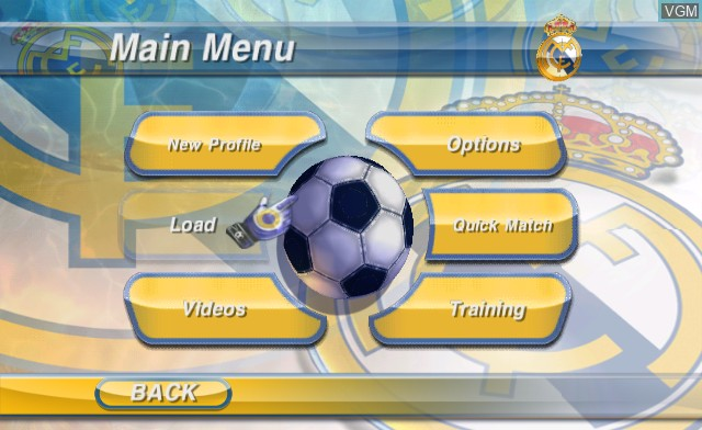 Menu screen of the game Real Madrid - The Game on Nintendo Wii
