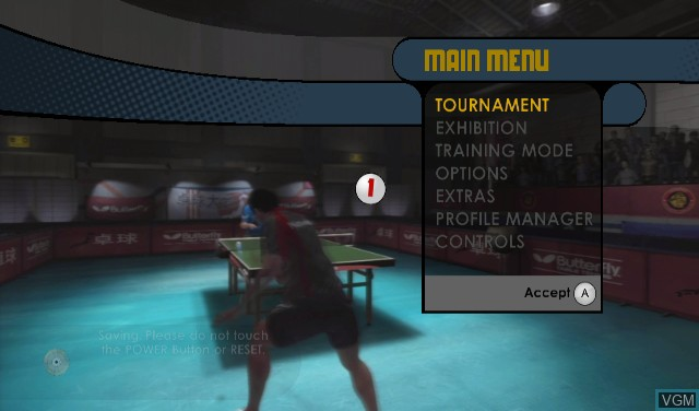 Menu screen of the game Rockstar Games presents Table Tennis on Nintendo Wii