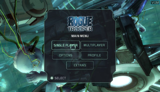 Menu screen of the game Rogue Trooper - Quartz Zone Massacre on Nintendo Wii