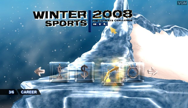 Menu screen of the game RTL Winter Sports 2008 on Nintendo Wii