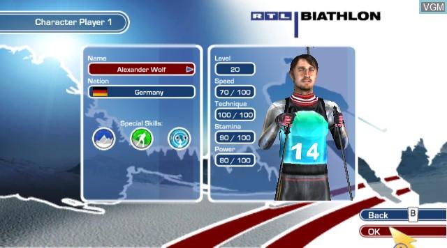 Menu screen of the game RTL Biathlon 2009 on Nintendo Wii
