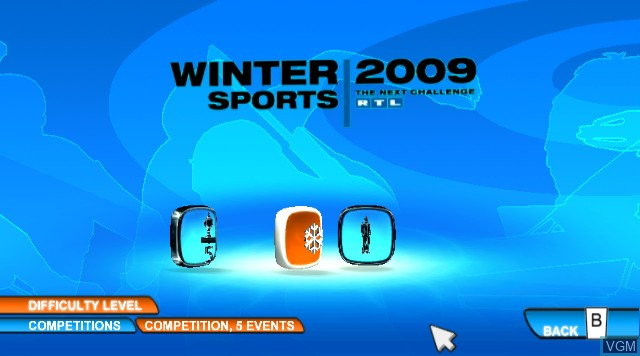 Menu screen of the game RTL Winter Sports 2009 on Nintendo Wii