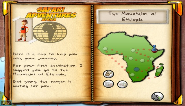 Menu screen of the game Safari Adventures Afrique on Nintendo Wii