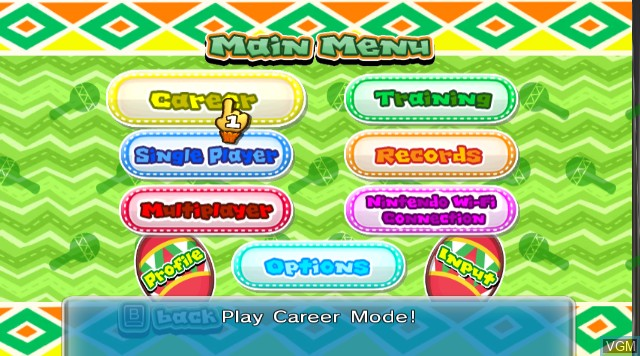Menu screen of the game Samba de Amigo on Nintendo Wii