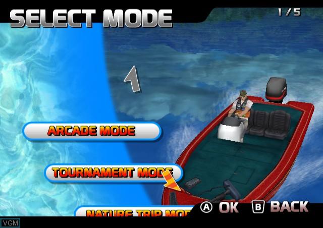 Menu screen of the game SEGA Bass Fishing on Nintendo Wii