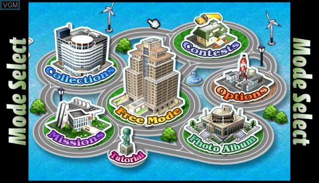 Menu screen of the game SimCity Creator on Nintendo Wii