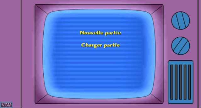 Menu screen of the game Simpsons Game, The on Nintendo Wii