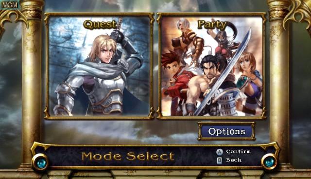 Menu screen of the game Soul Calibur Legends on Nintendo Wii