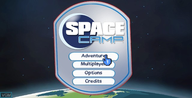 Menu screen of the game Space Camp on Nintendo Wii
