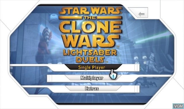 Menu screen of the game Star Wars The Clone Wars - Lightsaber Duels on Nintendo Wii