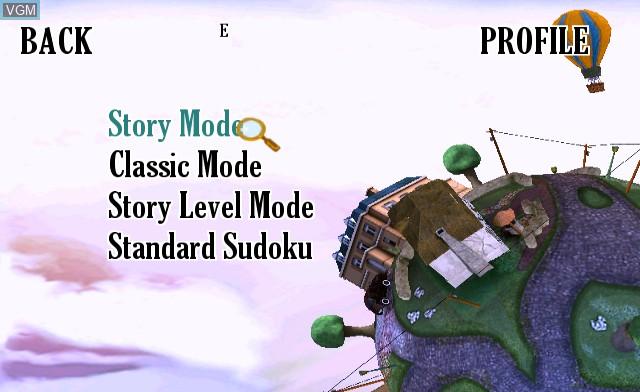 Menu screen of the game Sudoku Ball Detective on Nintendo Wii