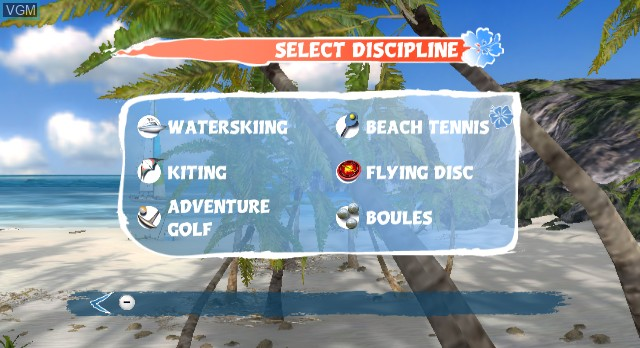 Menu screen of the game Beach Fun Summer Challenge on Nintendo Wii