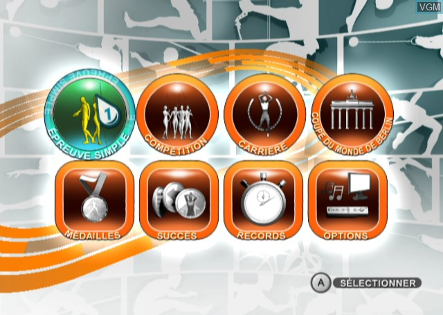 Menu screen of the game Summer Athletics 2009 on Nintendo Wii