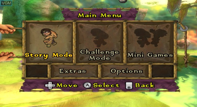Menu screen of the game Tak and the Guardians of Gross on Nintendo Wii