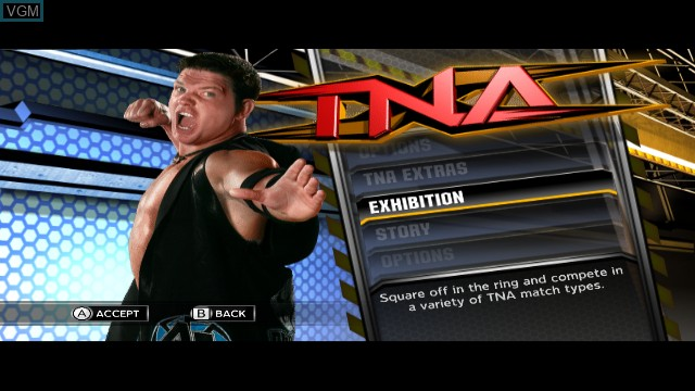 Menu screen of the game TNA iMPACT! on Nintendo Wii
