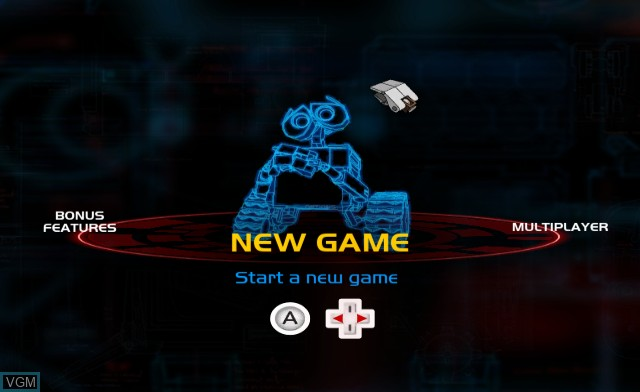 Menu screen of the game WALL-E on Nintendo Wii