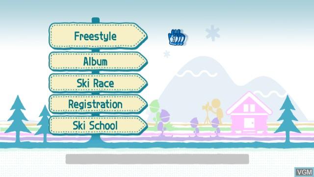 Menu screen of the game We Ski on Nintendo Wii