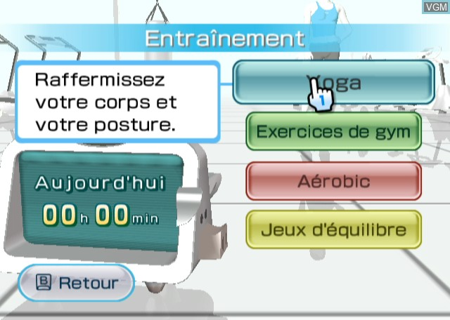 Menu screen of the game Wii Fit on Nintendo Wii