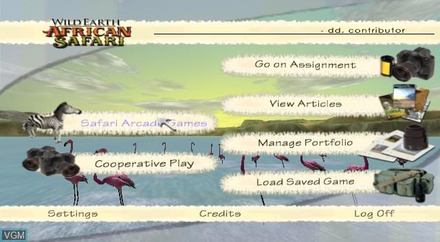 Menu screen of the game Wild Earth - African Safari on Nintendo Wii