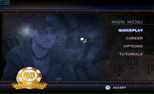 Menu screen of the game World Series of Poker - Tournament of Champions on Nintendo Wii