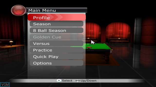 Menu screen of the game WSC REAL 08 - World Snooker Championship on Nintendo Wii