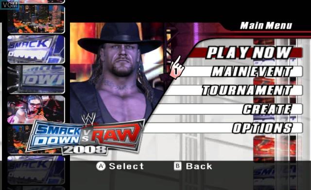 Menu screen of the game WWE SmackDown vs. Raw 2008 on Nintendo Wii