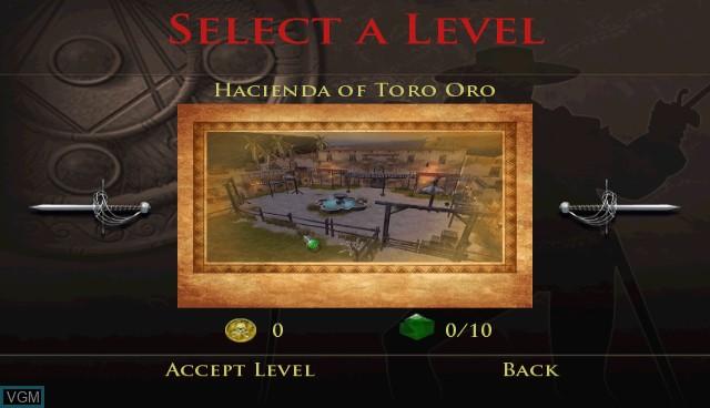 Menu screen of the game Destiny of Zorro, The on Nintendo Wii