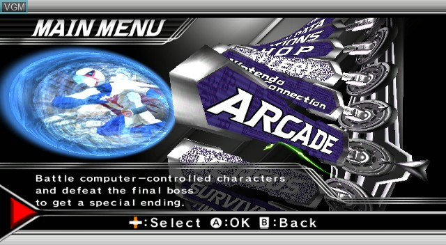 Menu screen of the game Tatsunoko Vs. Capcom on Nintendo Wii