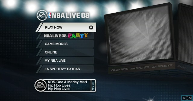 Menu screen of the game NBA Live 08 on Nintendo Wii