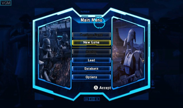 Menu screen of the game Star Wars - The Clone Wars - Republic Heroes on Nintendo Wii