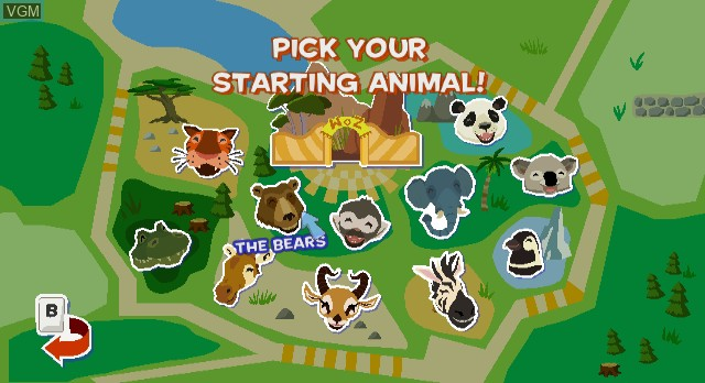 Menu screen of the game World of Zoo on Nintendo Wii