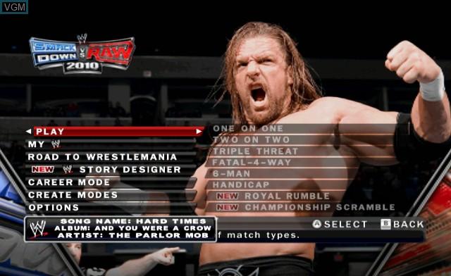 Menu screen of the game WWE SmackDown vs. Raw 2010 on Nintendo Wii