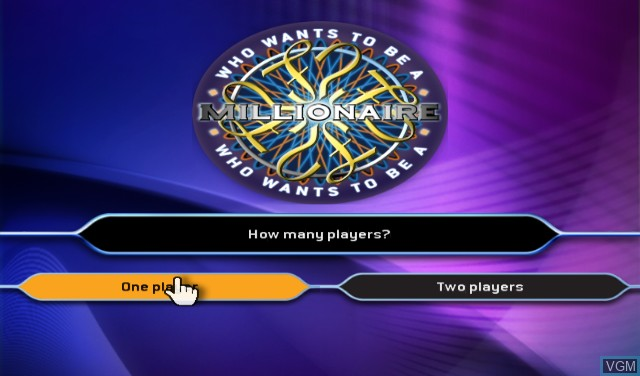 Menu screen of the game Who Wants to Be a Millionaire - 1st Edition on Nintendo Wii