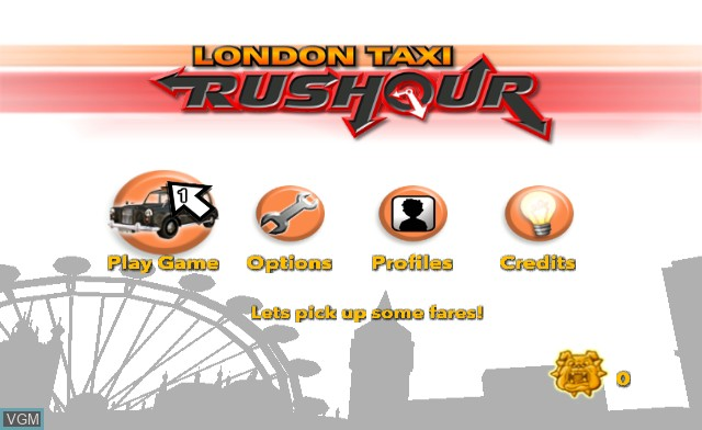 Menu screen of the game London Taxi - Rush Hour on Nintendo Wii